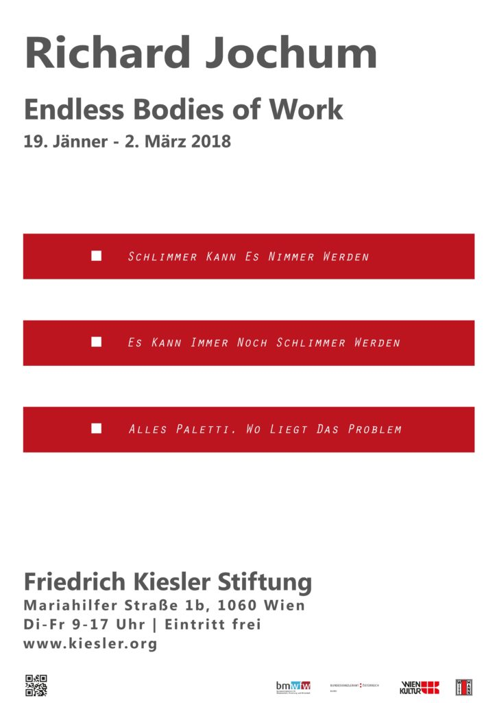 """Poster of the exhibition """"Richard Jochum: Endless Bodies of Work"""" at the Frederick Kiesler Foundation"""