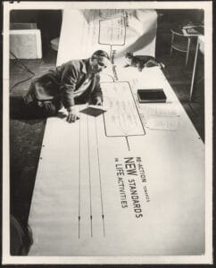 """Frederick Kiesler on his """"Metabolism Chart"""", New York, 1947, photograph by Ben Schnall."""