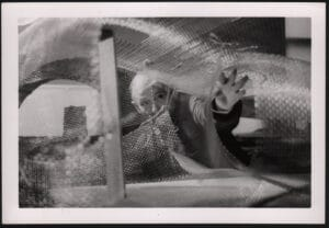 """Frederick Kiesler working on his """"Endless House"""" model, New York, 1959, photographer unknown."""