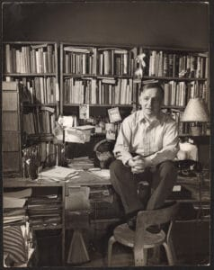 Frederick Kiesler sitting at his desk, New York, 1947, photograph by Ben Schnall.