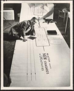 """Friedrich Kiesler auf seinem """"Metabolism Chart"""", New York, 1947, Fotograf: Ben Schnall."""