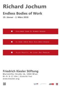 """Plakat zur Ausstellung """"Richard Jochum: Endless Bodies of Work"""" in der Friedrich Kiesler Stiftung"""