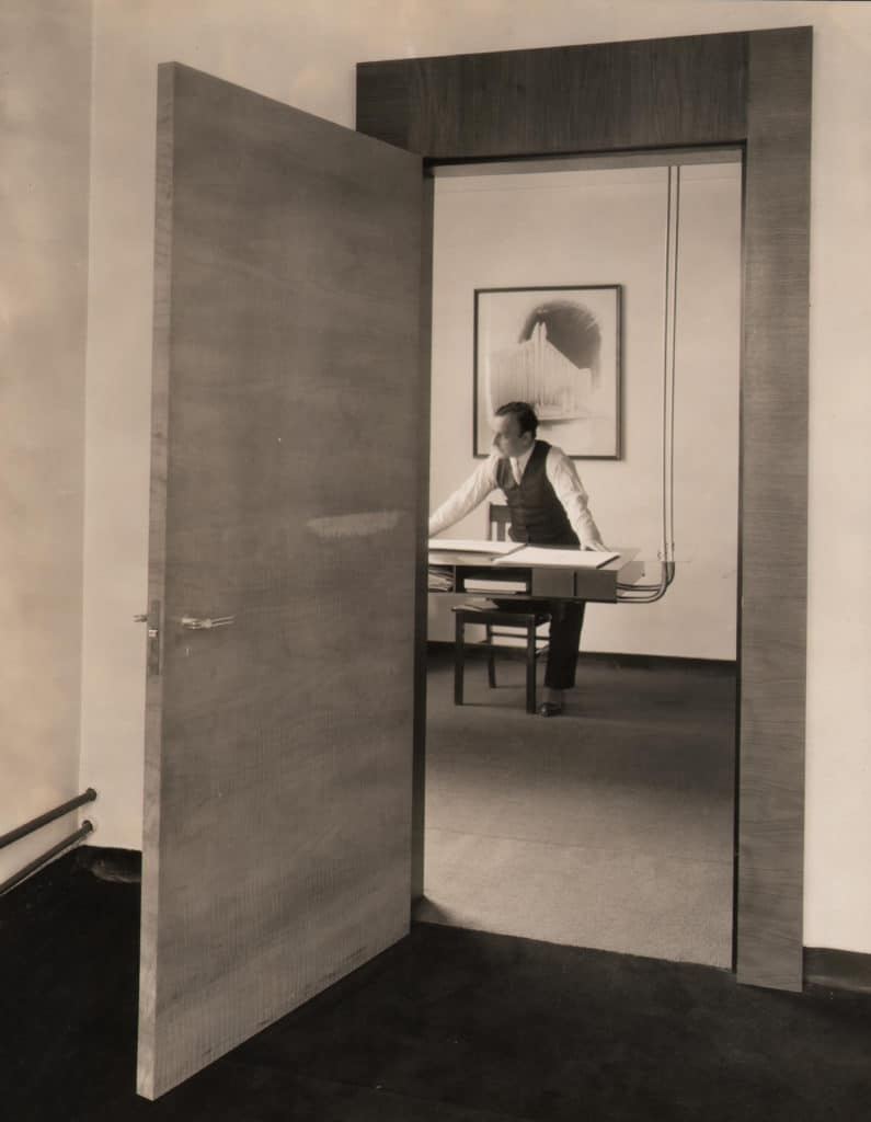 Kiesler in his Studio behind his Flying Desk